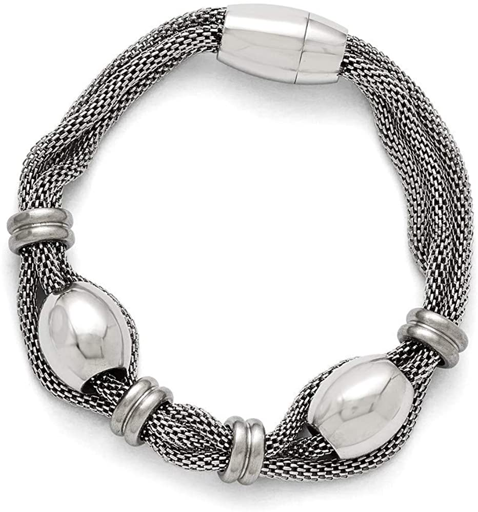 Stainless Steel Polished and Brushed Beads Twisted Bracelet 8.5 Inch Jewelry Gifts for Women