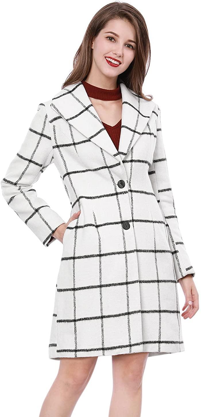 Allegra K Women's Turn Down Collar Seam Pockets Checks Coat