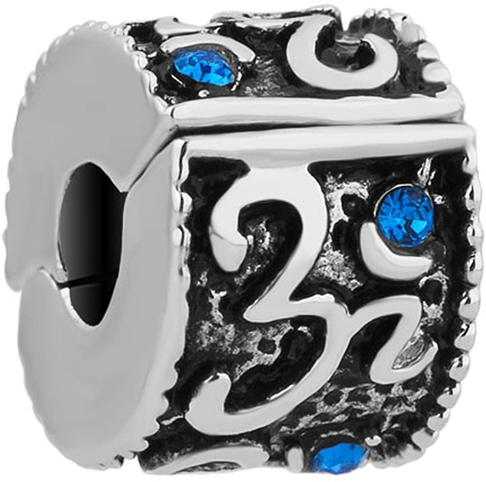 CharmSStory Om Symbol Love Yoga Lucky Clip Lock Spacers Stopper Bead for Bracelets