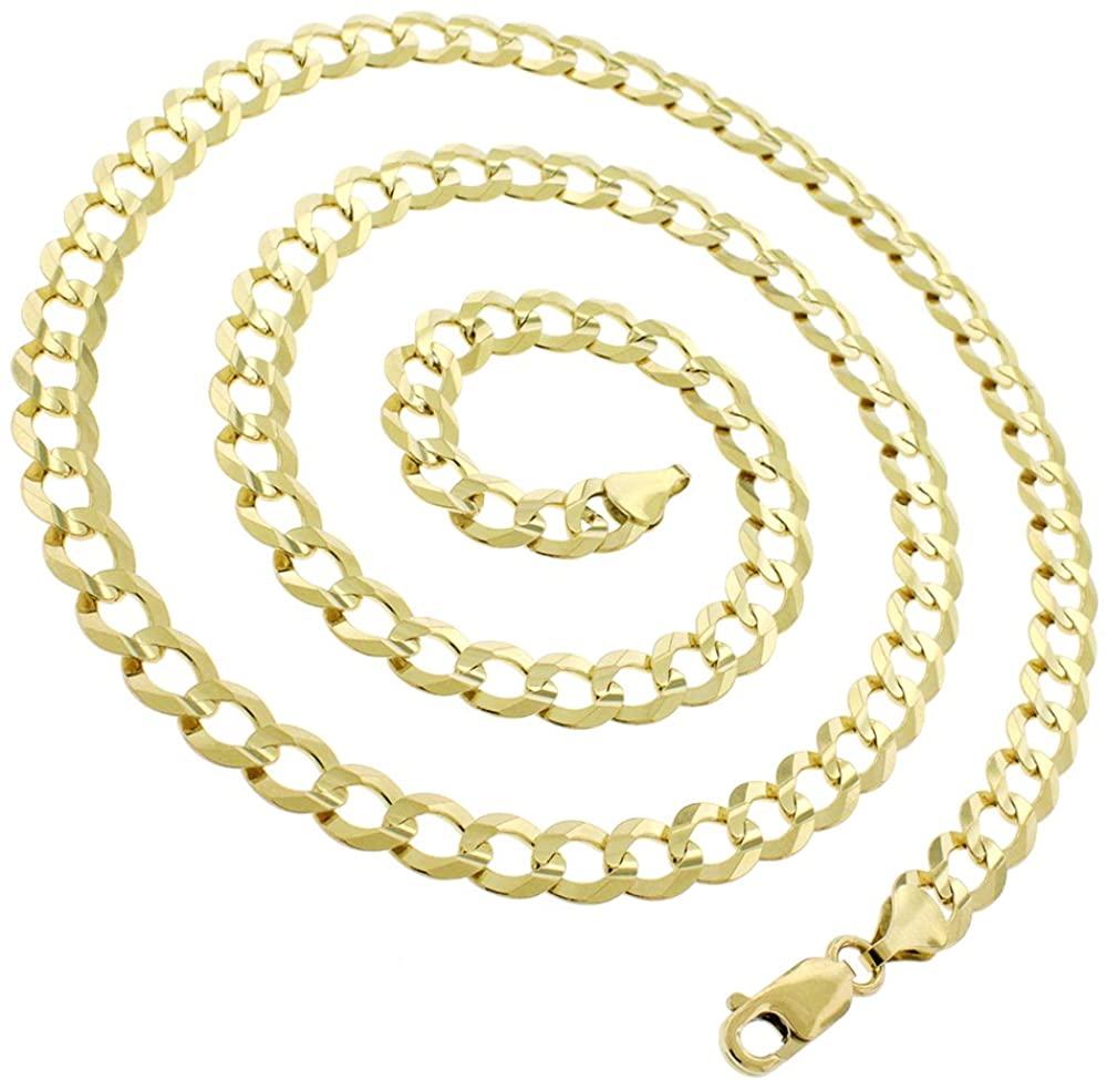 10K Yellow Gold 1.5mm - 8mm Solid Cuban Chain, FREE Microfiber Cloth, Curb Link Necklace, Giorgio Bergamo