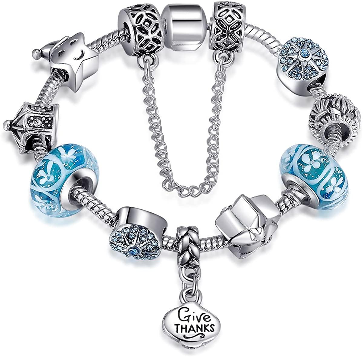 Presentski Blue Color Charm Bracelets for Women Girls Star Beaded Bracelet Mom Daughter Grandma Birthday Jewelry