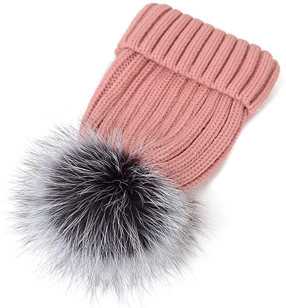 JYHOPE Winter Knit Hat Real Raccoon Silver Fox Fur Pom Pom Warm Knit Beanie Hat