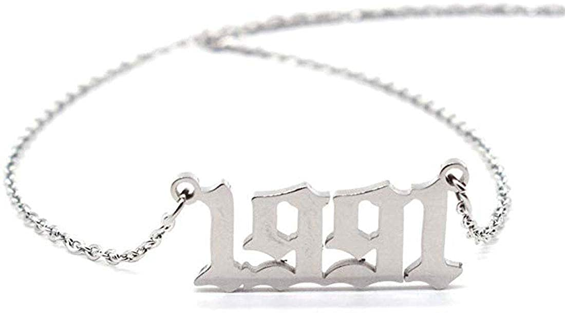 Keenisic Birth Year Number Pendant Necklace for Women and Girls Birthday Gift Charm Friendship Jewelry 18k(Gold,Silver)