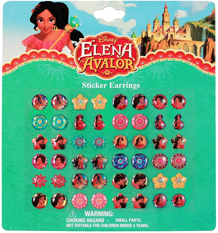 Karacter Box 12-Pack, Disney Princess Elena 24 Pairs Sticker Earrings- Party Favor / Goody Bag