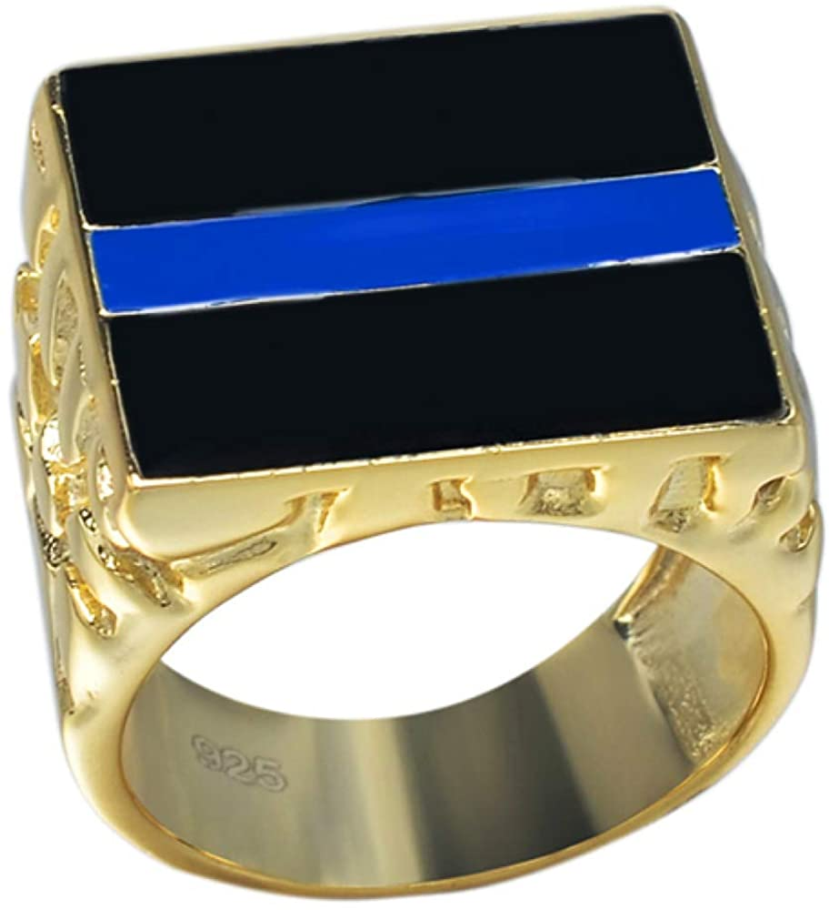 Solid 925 Sterling Silver Ring Sz 7-13 14k Gold Finish -Thin Blue Line - Support Law Enforcement Blue Lives Matter