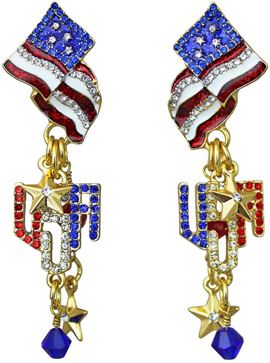 Ritzy Couture Women's USA American Flag Drop Dangle Earrings (Goldtone) - 4th of July Independence Day Dangling Ornament