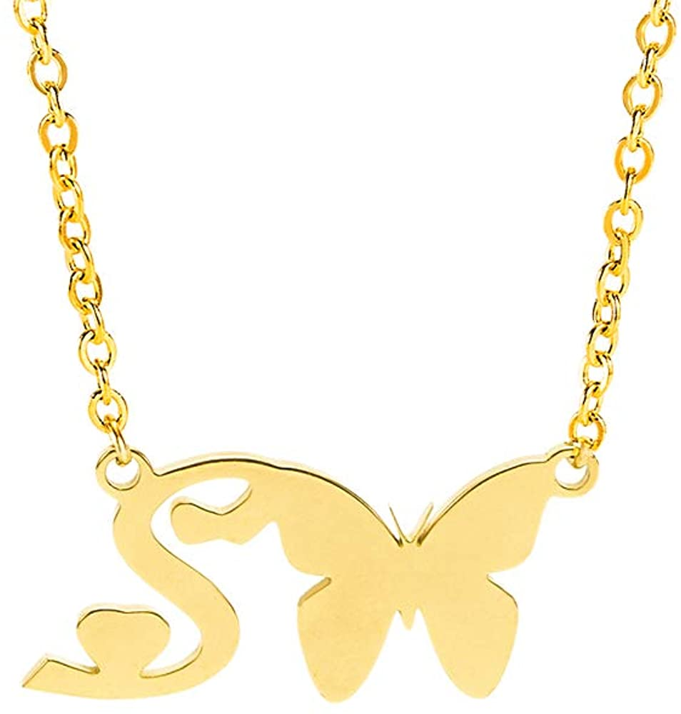 Crazy Feng Gold Butterfly Initial Necklaces for Women Letter Necklace Butterfly Necklace with Initial Pendant Necklace Dainty Choker Necklace Butterfly Jewelry Gift 14.2