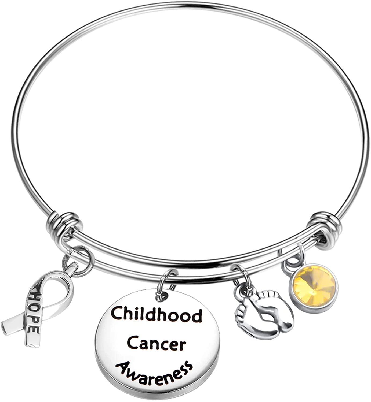 MYOSPARK Childhood Cancer Awareness Bracelet Hope Ribbon Charm Cancer Survivor Cancer Awareness Gift