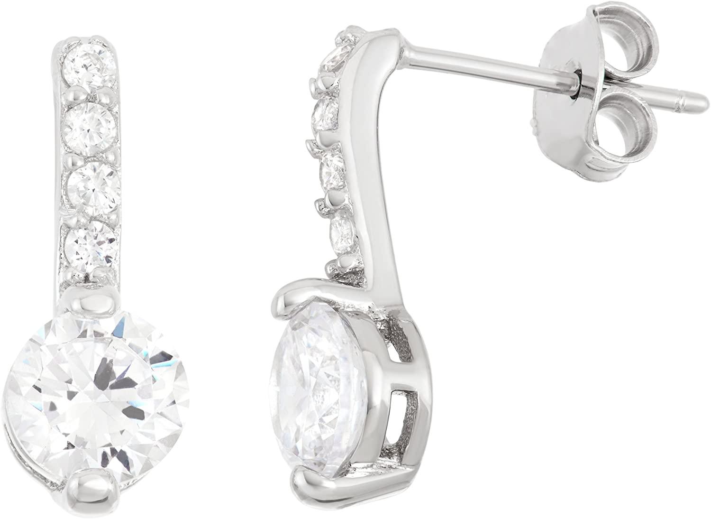 Sterling Silver Bar & Circle CZ Stud Earrings