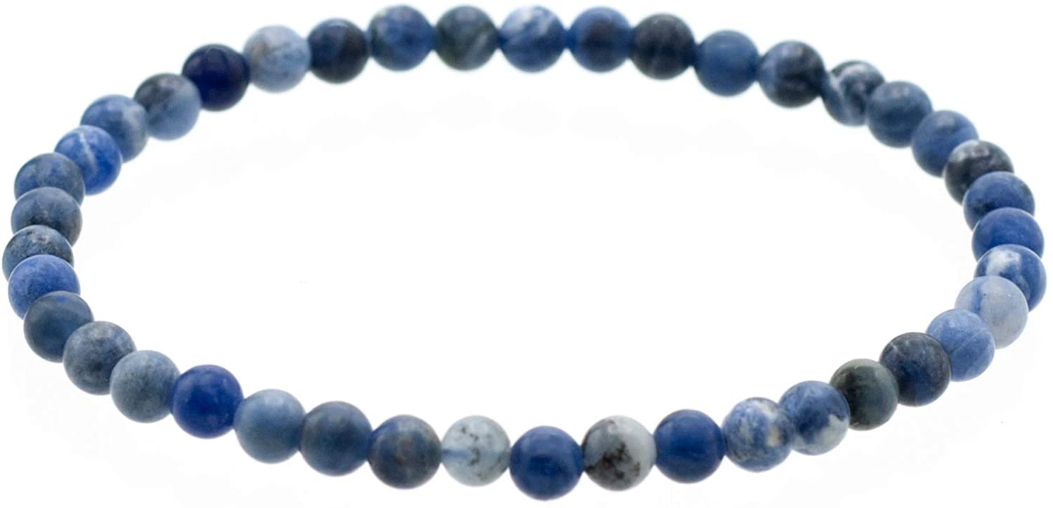 Glossy 4mm Round Sodalite Stretch Bracelet (in various lengths: 6.5, 7, 7.5, 8 Inches)