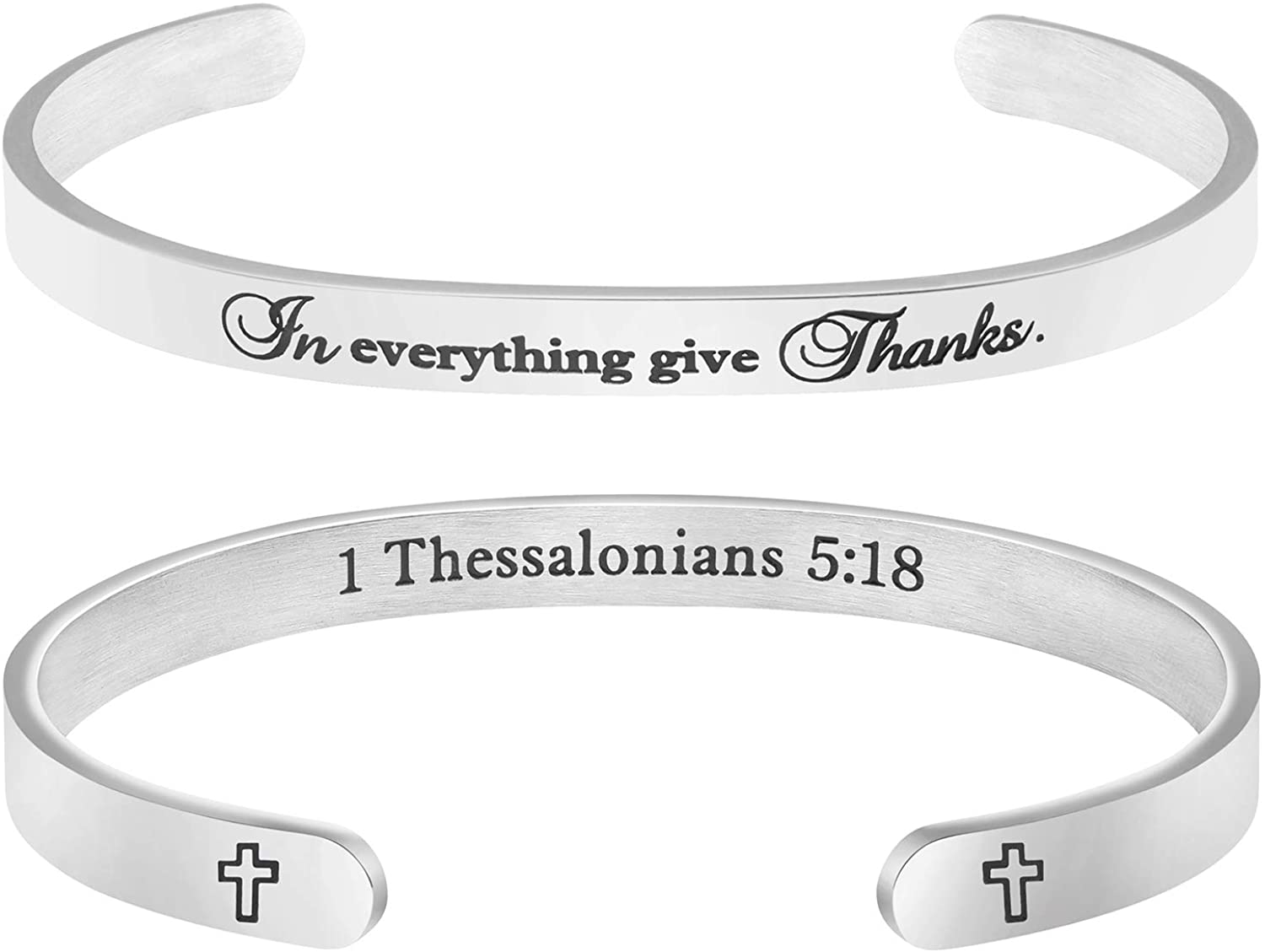 MEMGIFT Christian Bracelets for Women Inspirational Religious Gifts for Her Bible Verse Bapstism Jewelry Cuff Bangle