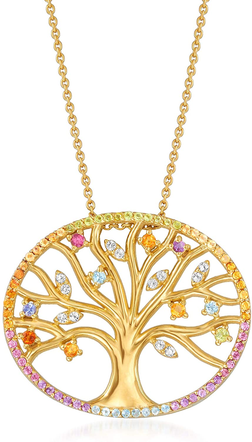 Ross-Simons 0.94 ct. t.w. Multi-Gemstone Tree Of Life Pendant Necklace in 18kt Gold Over Sterling