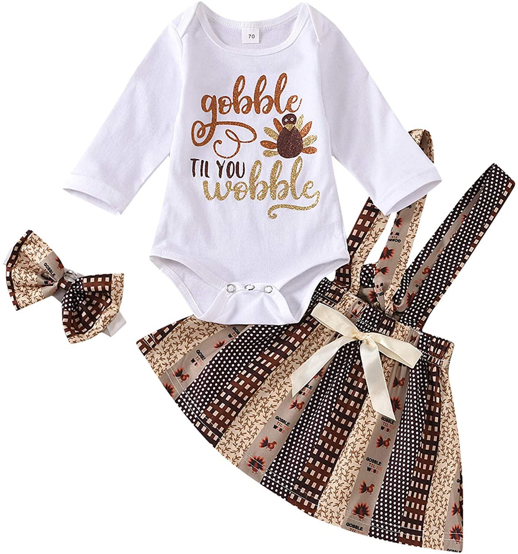 Newborn Baby Girl Thanksgiving Outfit Long Sleeve Turkey Romper Top+Plaid Suspender Skirt+Bow Headband 3PCS Clothes Set