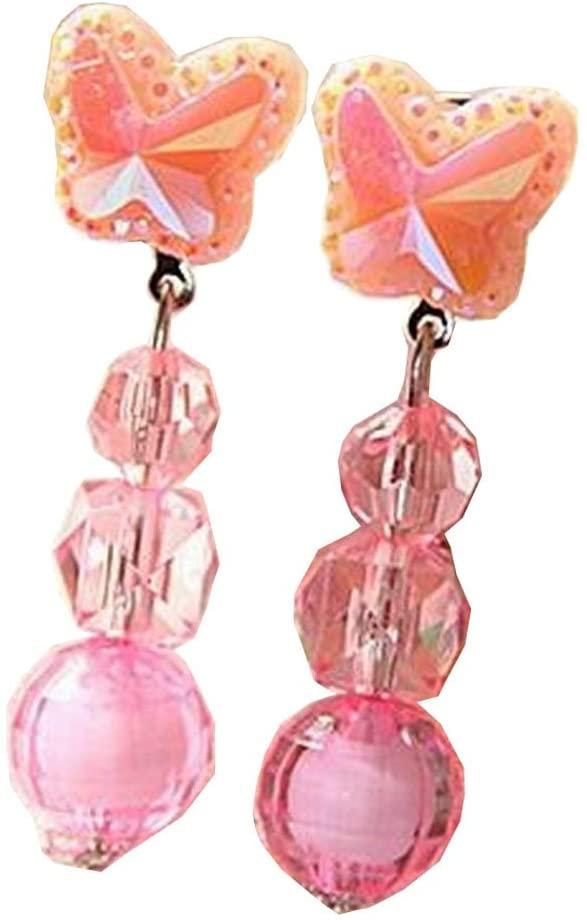 Alien Storehouse 2 Pairs Girls Shining Clip-on Earrings Princess Pendant Earclips Butterfly