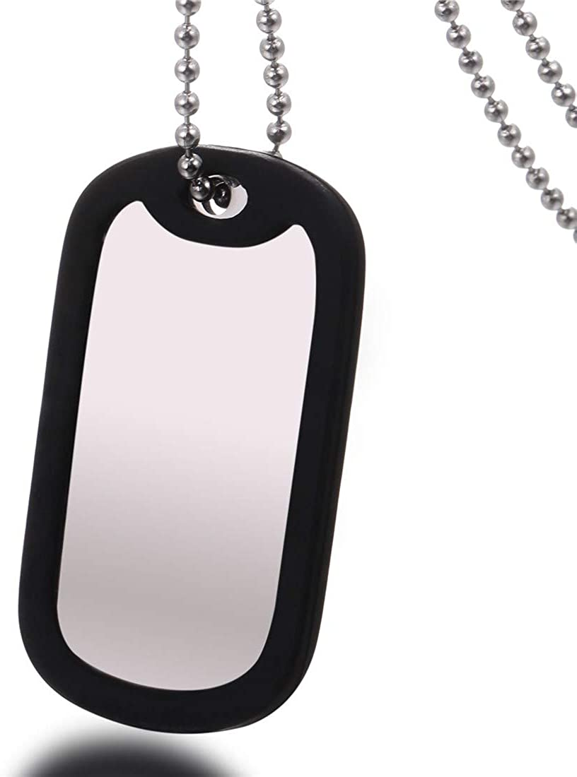 U7 Men Women Custom ID Tag,Stainless Steel Medical Identification Necklace Bead Chain 23 Inch with Silicone Silencer, Black Lives Matter/Military Dog Tag Customized with Text or Image, Gift Packed