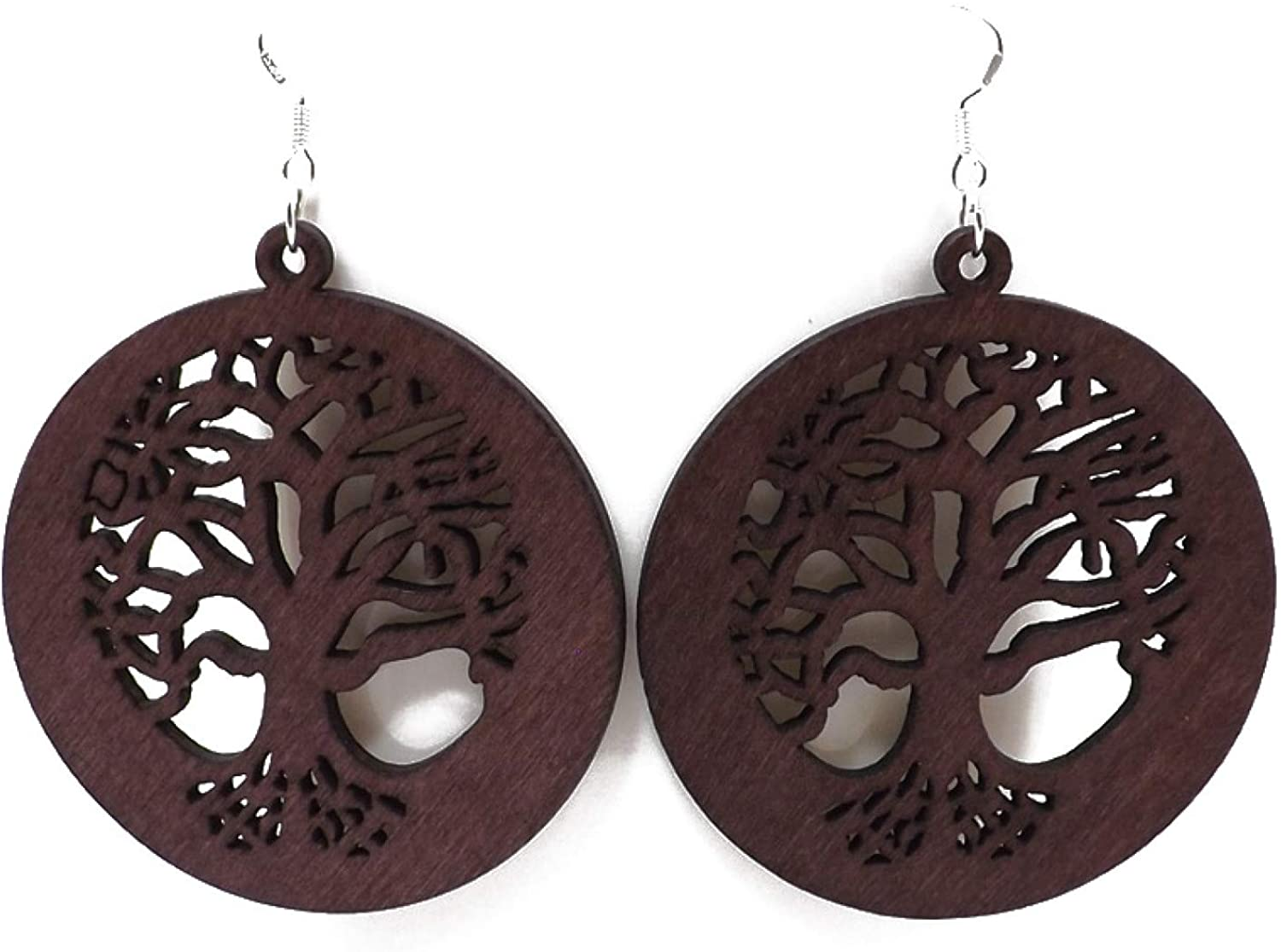 Fashion African Drop Earring Bohemian Pendant Dangle Earrings Wooden Round Handmade African Painted Earrings for Valentine Gifts
