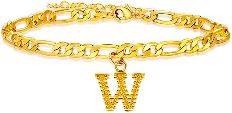 Long tiantian Gold Initial Anklet Cuban Link Anklets Bracelet for Women Gold Letter Anklet for Girls Name Bracelet Anklet