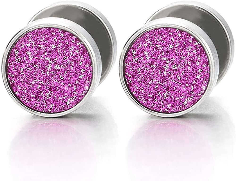 8mm Women Circle Stud Earrings with Purple Pink Sand Glitter, Steel Fake Ear Plugs Gauges Tunnel