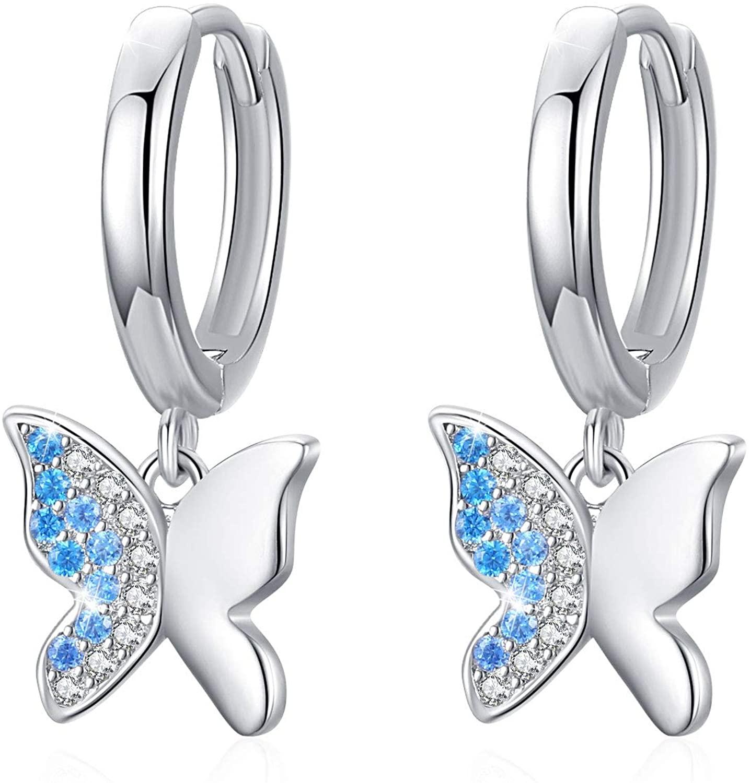 Butterfly Hoop Earrings, S925 Sterling SilverButterfly Huggie Errings Cubic Zircon earrings Drop Earrings Hypoallergenic Earringsfor Women
