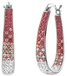 Savlano 14K White Gold Plated Inside Out Crystal Hoop Earrings For Women & Girls