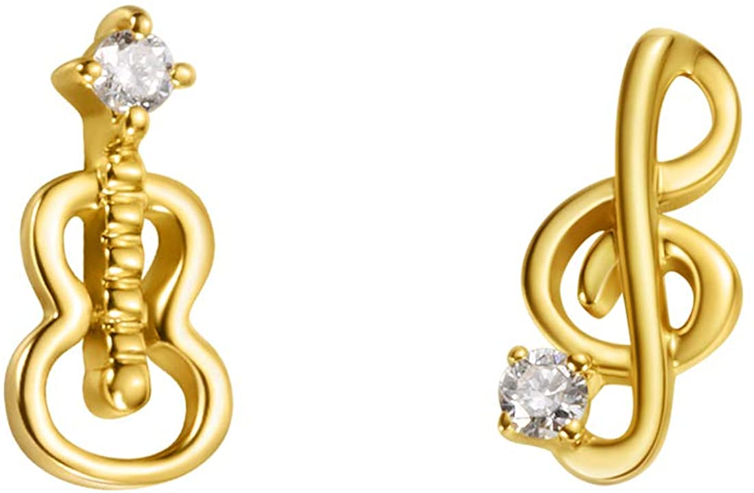 Carleen Dreamer Collection 18k Solid Yellow Gold Cute Asymmetric Dainty Small Little Tiny Statement Diamond Stud Earrings Delicate Fine Jewelry For Women Girls