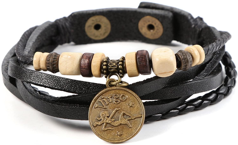 JewelrieShop Genuine Leather Bracelet for Men Constellation Braided Rope Bracelet Multilayer Adjustable Bangle Wrist Cuff Wristband Birthday Gift (Virgo - Black Leather)