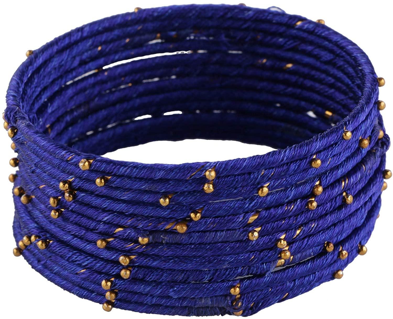 Efulgenz Fashion Jewelry Indian Bollywood Gold Plated Beaded Multicolor Silk Thread Wedding Bridal Bracelet Bangle Set