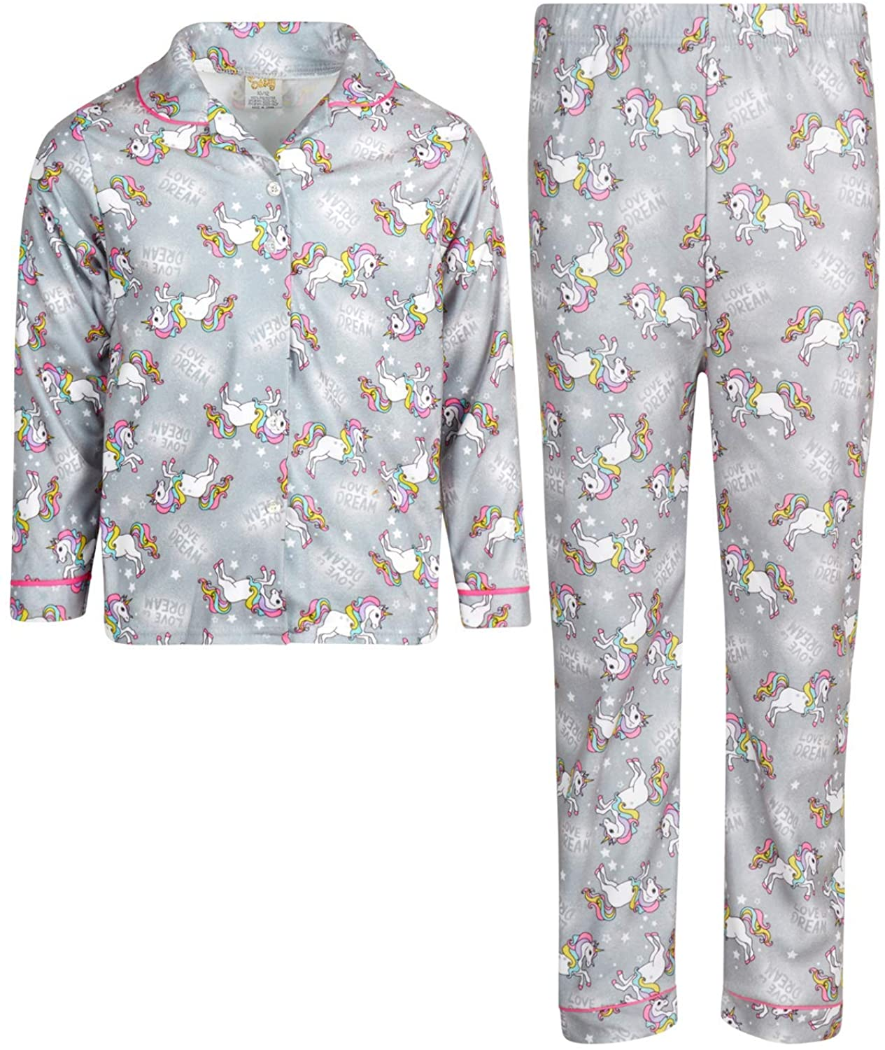 Sweet & Sassy Girl's Flannel Pajamas - 2 Piece Long Sleeve Button Down Shirt and Pants Sleepwear Set