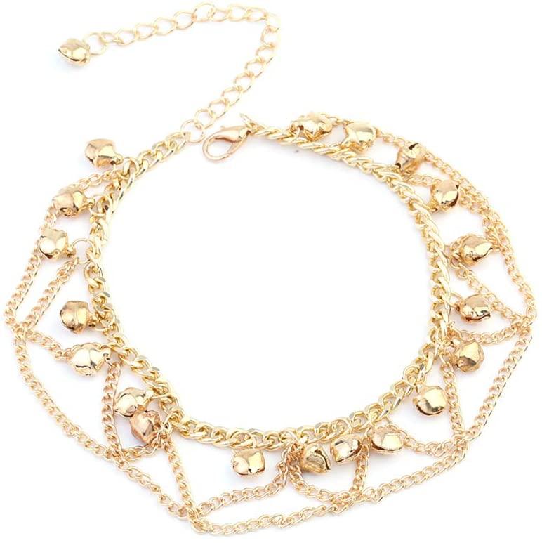 PandaLily Charm Anklets Bracelets Beach Foot Jewelry Women Fashion Drop Jingle Bell Charm Anklet Beach Foot Cross Chain Jewelry Gift for Women Teen Girls Golden