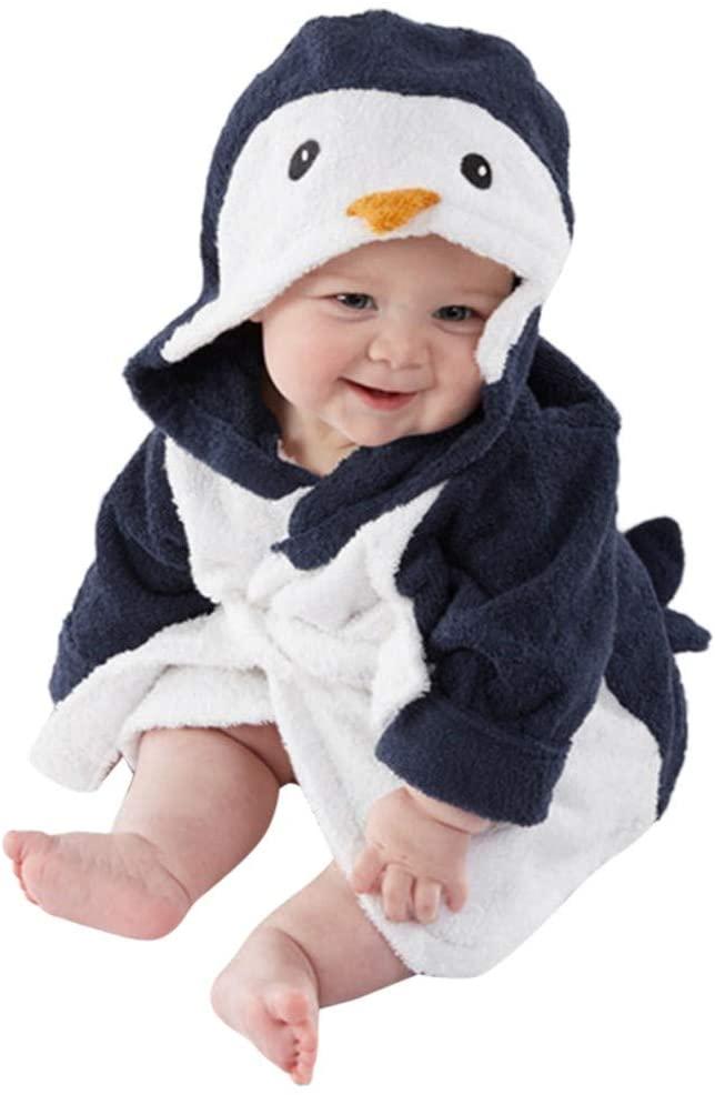 Goldweather Baby Hooded Towel Robe Infant Boys Girls Cartoon Animal Pajamas Warm Fleece Flannel Bathrobe (Navy,12-18 Months)