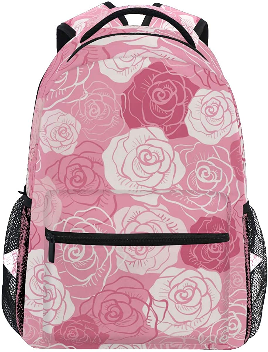 EELa Backpack Rose Seamless Pattern Resistant Casual Hiking Travel Camping Daypack for Teen Boys Girls Man Women School Bookbag Laptop Bag