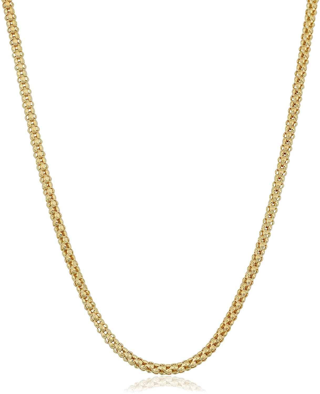 Kooljewelry 14k Yellow Gold 1.6 mm Popcorn Chain Necklace (18 inch)