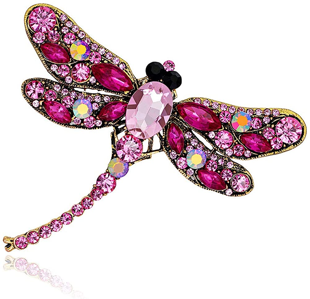 MUZI Women Brooch Pins Alloy Rhinestone Large Dragonfly Brooches 7.5 X 9.1cm for Vacation Party Business Office