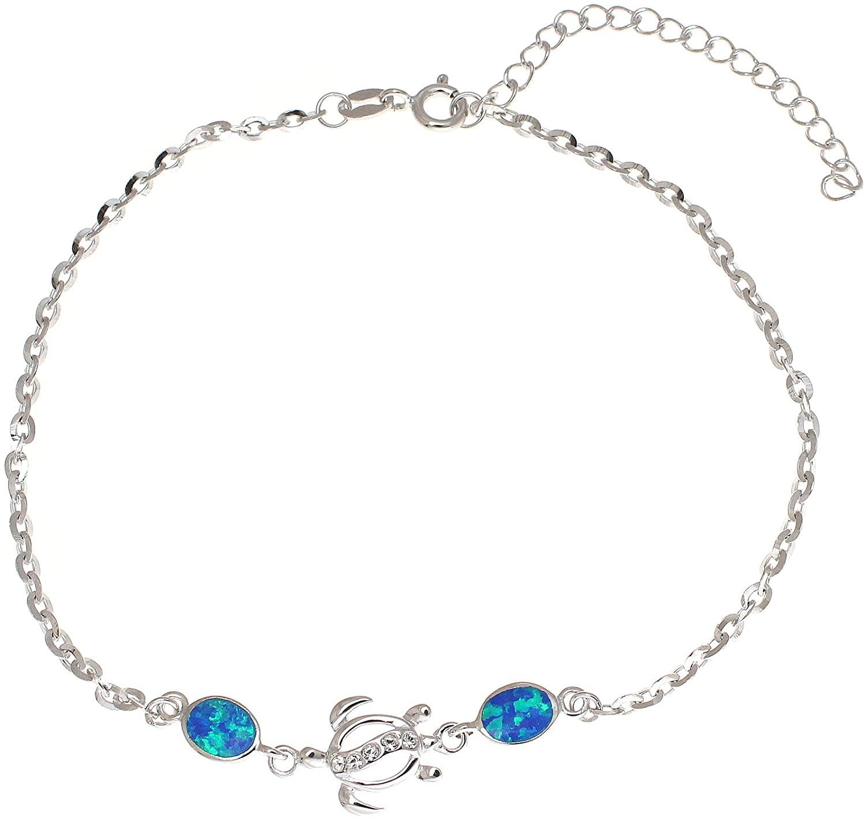 Arthur's Jewelry 925 sterling silver Hawaiian honu sea turtle cz blue synthetic opal link chain anklet 9