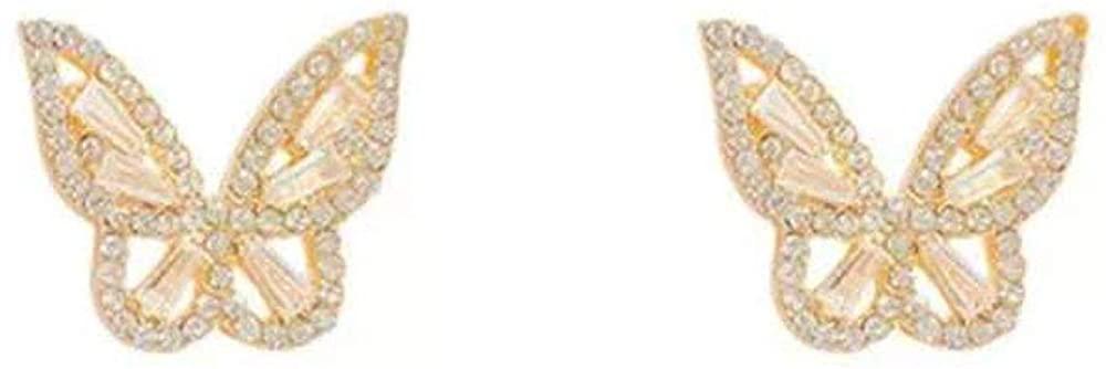 CZ Earring Plated Gold Earring Sterling Silver Needle Earrings Butterfly Earring for Women and Girls