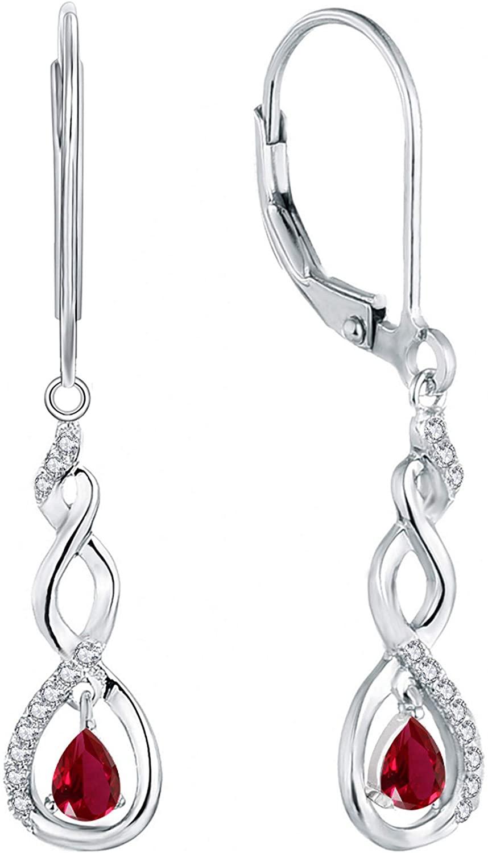YL Drop & Dangle Earrings Sterling Silver Infinity Twisted Leverback Earring 5A Cubic Zirconia Drop Jewelry