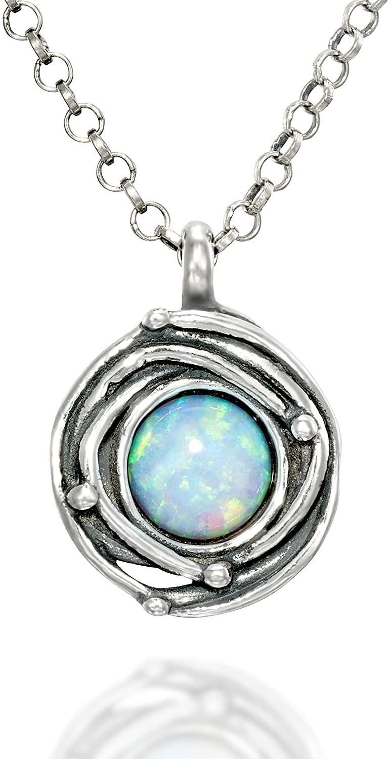 Stera Jewelry Vintage Style Round Pendant with Created Blue or White Opal Swirl or Birds Nest Design