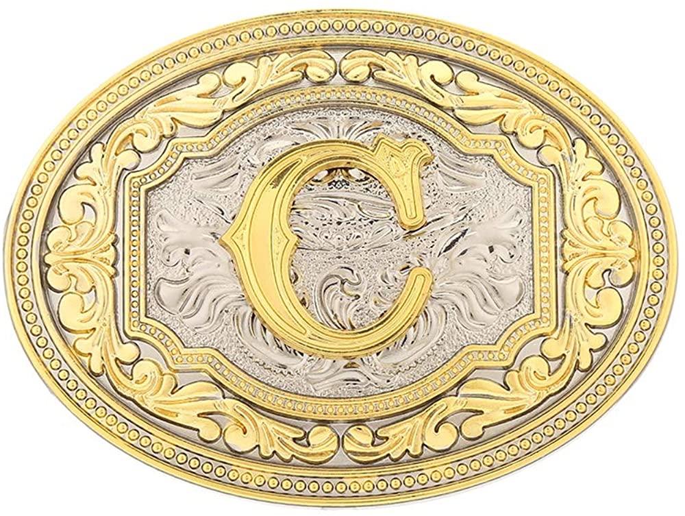 KDG Western Belt Buckle Fashion Cool Initial Letter Belt Buckle for American Cowboy Men Women