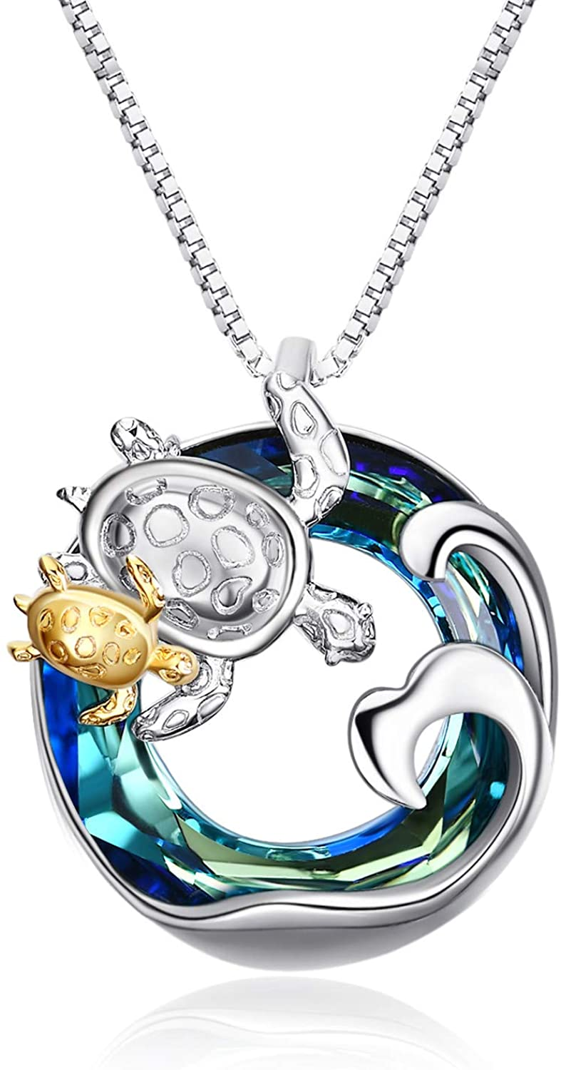 Sea Turtle Gifts for Mom & Daughter Sterling Silver Turtle Animal Necklace Women Jewelry with Swaovski Crystal
