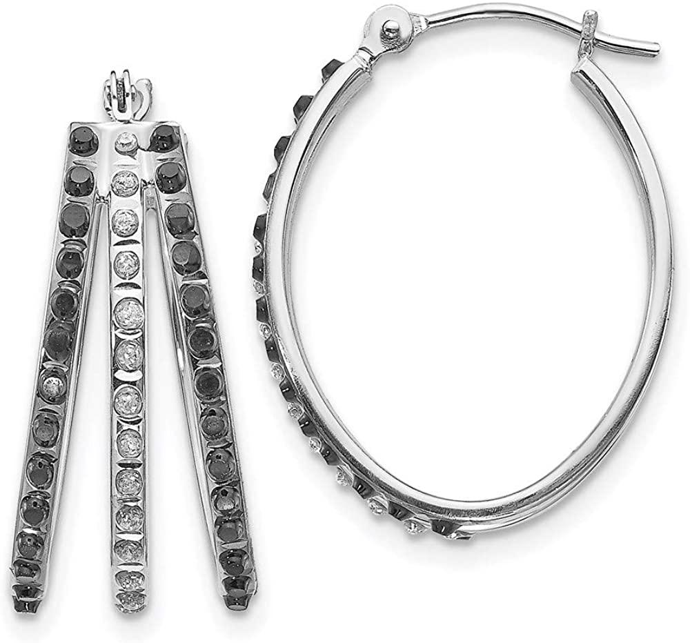 14k White Gold Diamond Fascination Black W Triple Oval Hinged Hoop Earrings Ear Hoops Set Fine Jewelry For Women Gifts For Her