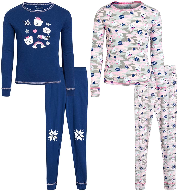 Rene Rofe Girls' Pajama Set - 4 Piece Snug Fit Cotton Sleepwear Set