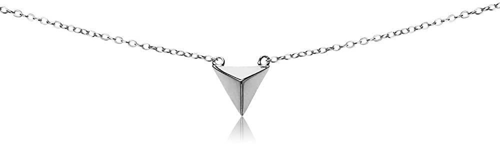 GemStar USA Sterling Silver Polished Triangle Pyramid Dainty Choker Necklace