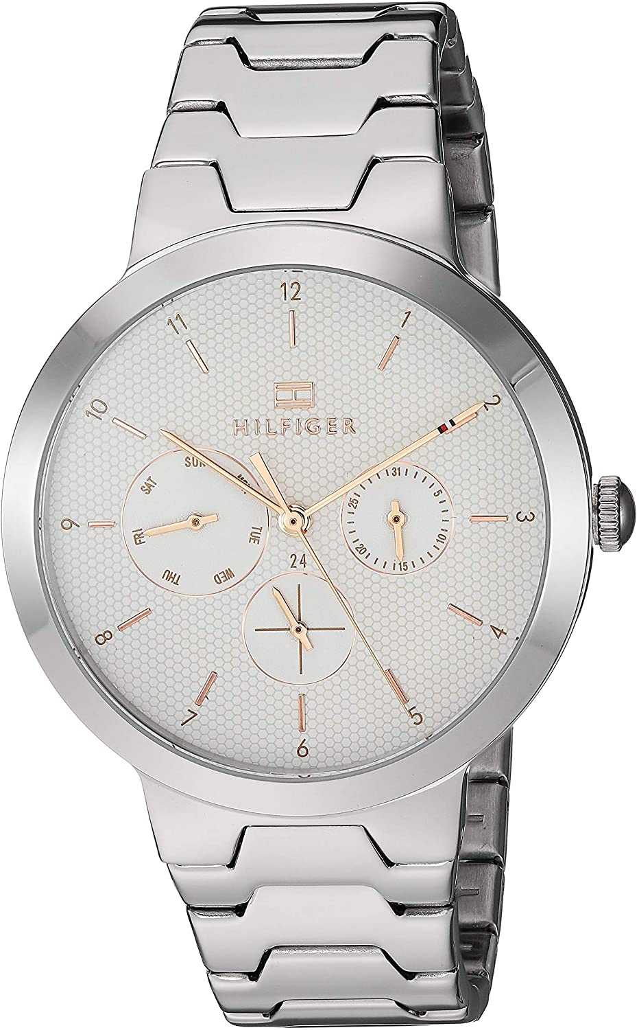 Tommy Hilfiger Women's Quartz Watch with Stainless Steel Strap, Silver, 18.3 (Model: 1782075)