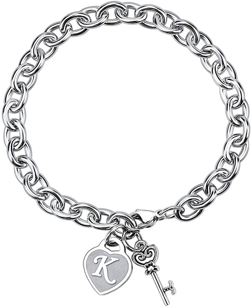 Baroco Initial Charm Bracelets for Women Gifts Engraved 26 Letters Initial Charms Stainless Steel Bracelet with Gift Bag