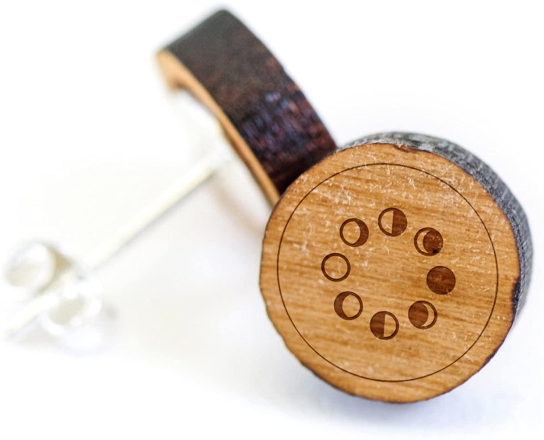 WOODEN ACCESSORIES COMPANY Wooden Stud Earrings With Moon Laser Engraved Design - Premium American Cherry Wood Hiker Earrings - 1 cm Diameter