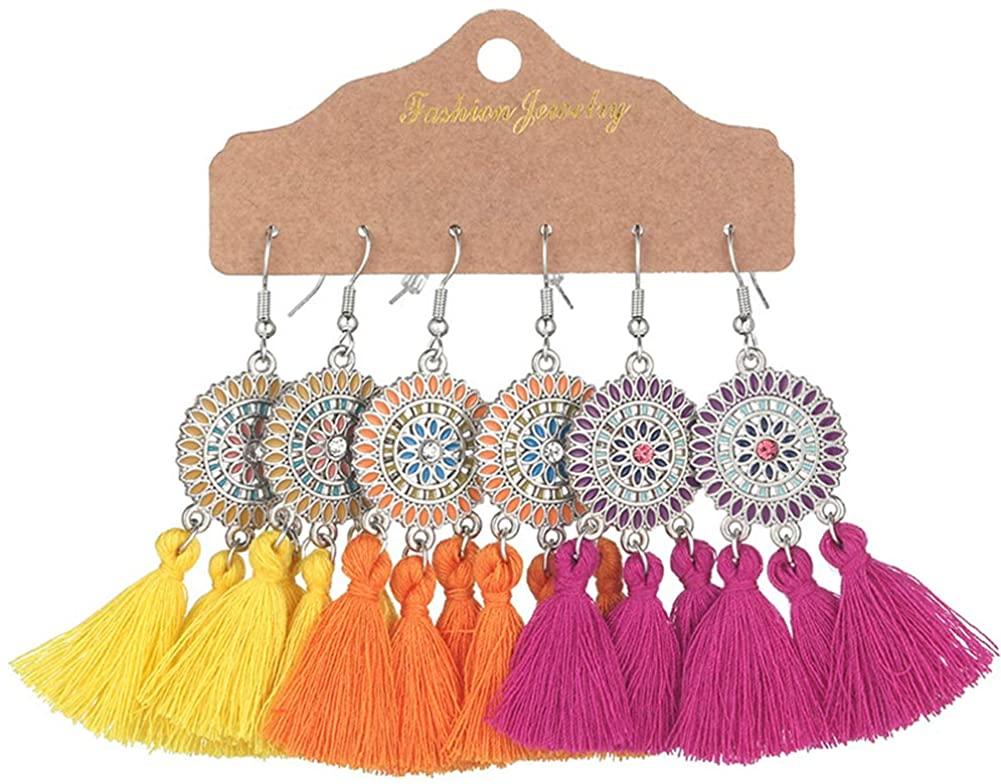 Gmillions Bohemian Vintage Dangle Earrings Retro Colorful Tassel Earrings Boho Long Dangle Drop Earrings Set for Women Girls