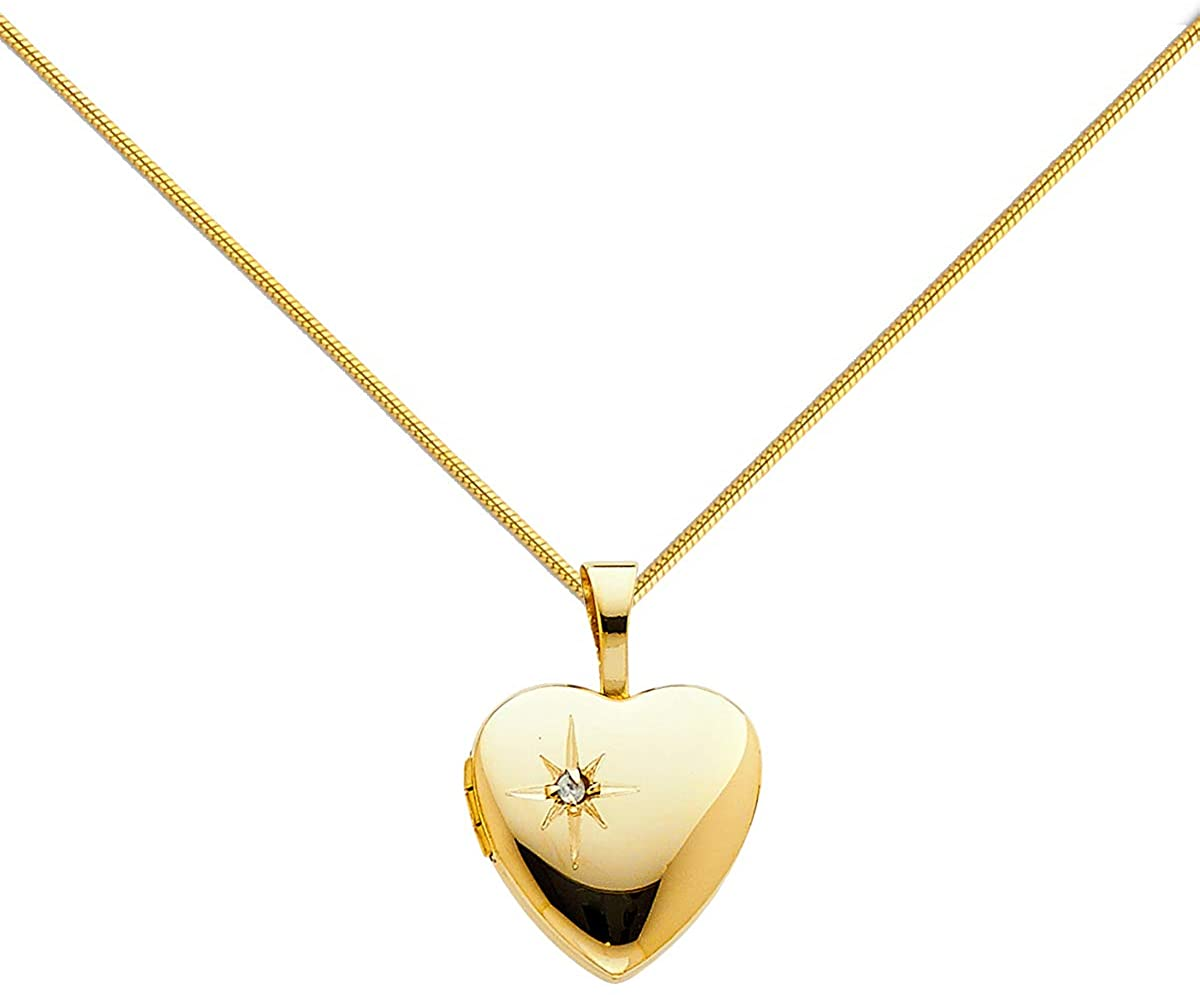 14K Yellow Gold Valentine Love Heart Star Locket Pendant with 0.8mm Yellow Snake Chain Necklace