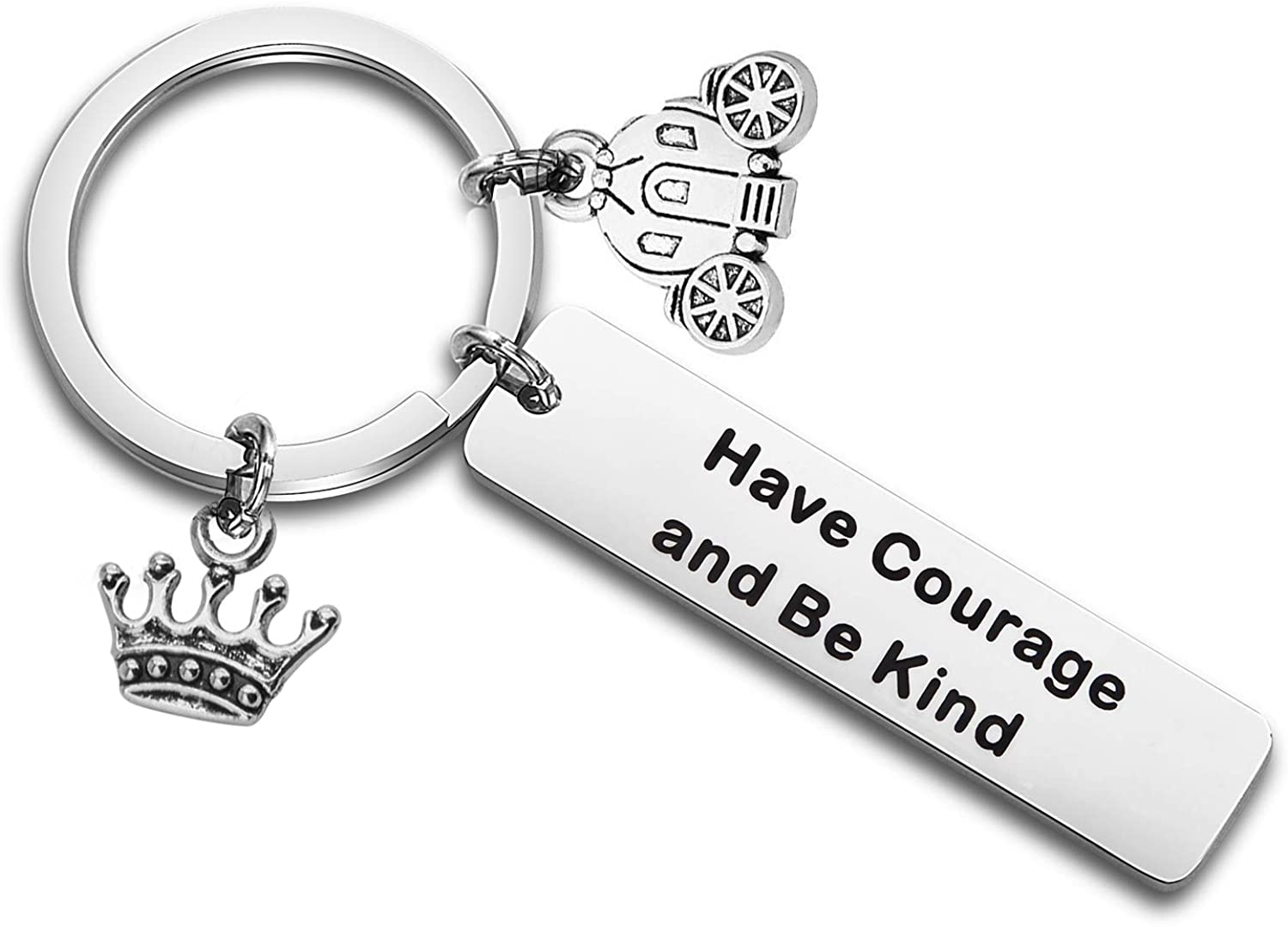 QIIER Have Courage and Be Kind Inspirational Keychain with Pumpkin Carriage Charm Crown Charm Christmas Mother Daughter Friendship Gifts