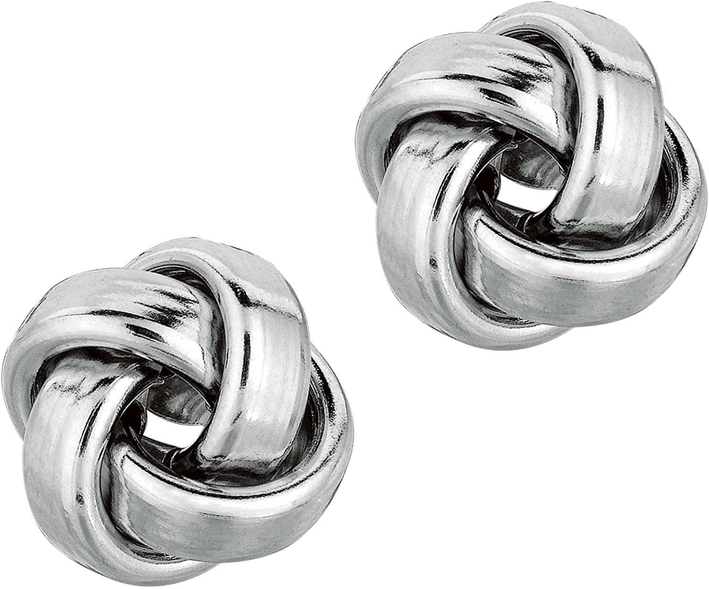 Ritastephens 14k Solid White Gold Love Knot Loveknot Stud Earrings 11 Mm