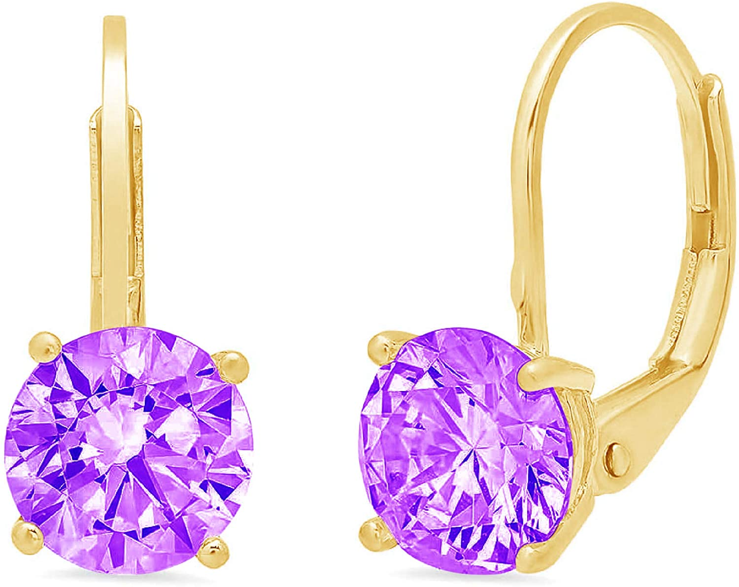 1.50 ct Round Cut Solitaire Natural Purple Amethyst Designer Lever back Drop Dangle Earrings Solid 14k Yellow Gold